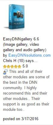 A new 5 stars review of EasyDNNGallery– thank you! #dnncms #dnn  http://bit.ly/1KGWcOR