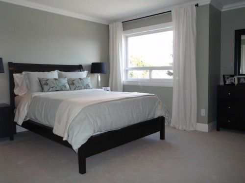 Grey Walls White Curtains Dark Furniture Black Bed Frame