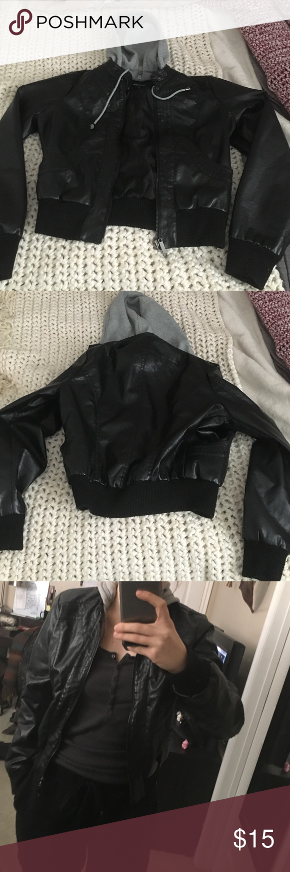 Faux leather wet seal jacket Nice jacket in great condition. Trying to get rid of all my jackets before I move. Hood is removable. Comes from a smoke free home. Wet Seal Jackets & Coats