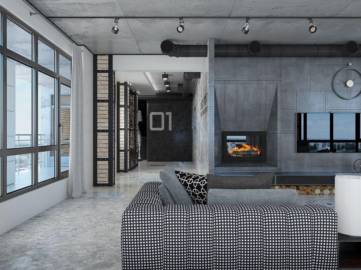 Industrial Loft Apartment Design Ideas With Elegant Dark Shades ...