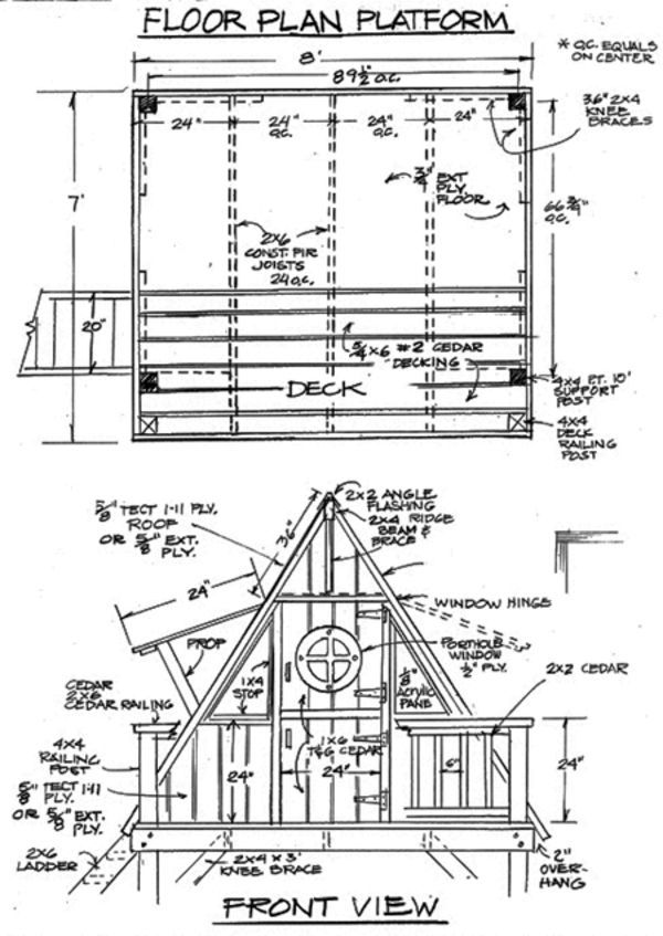 A frame treehouse outdoor life a frame tree house for Tree house deck plans
