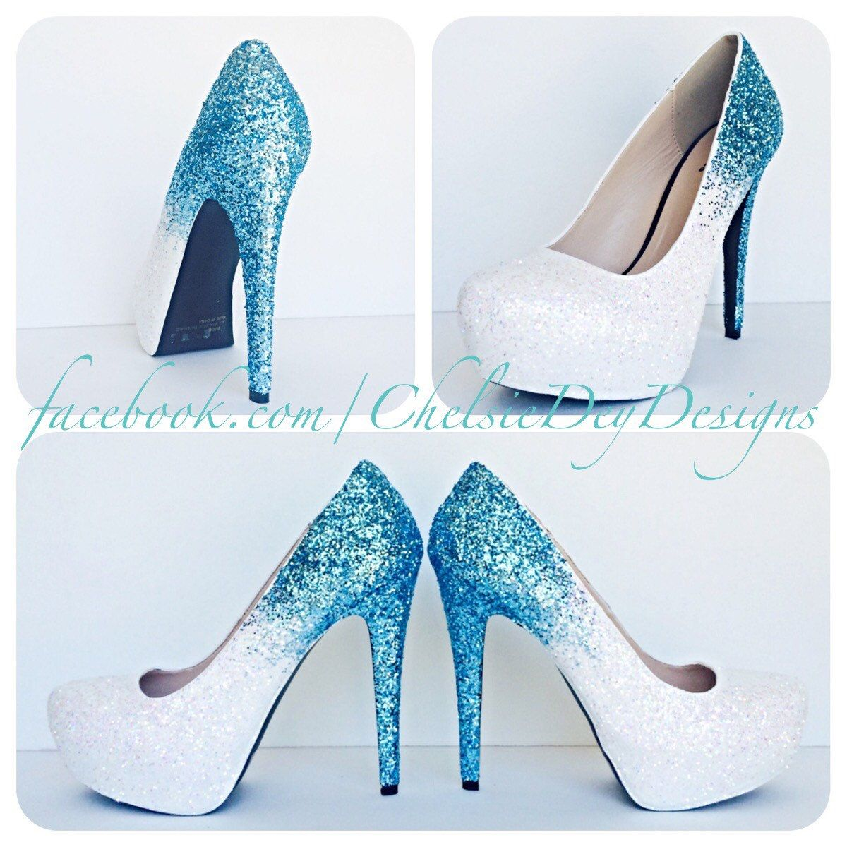 520997cc6e39a Glitter High Heels - Blue and White Pumps -Aqua Turquoise Ombre ...