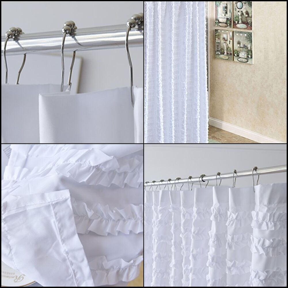 Shower Curtain Fabric Soft Polyester Ruffle Designs Multicolor For