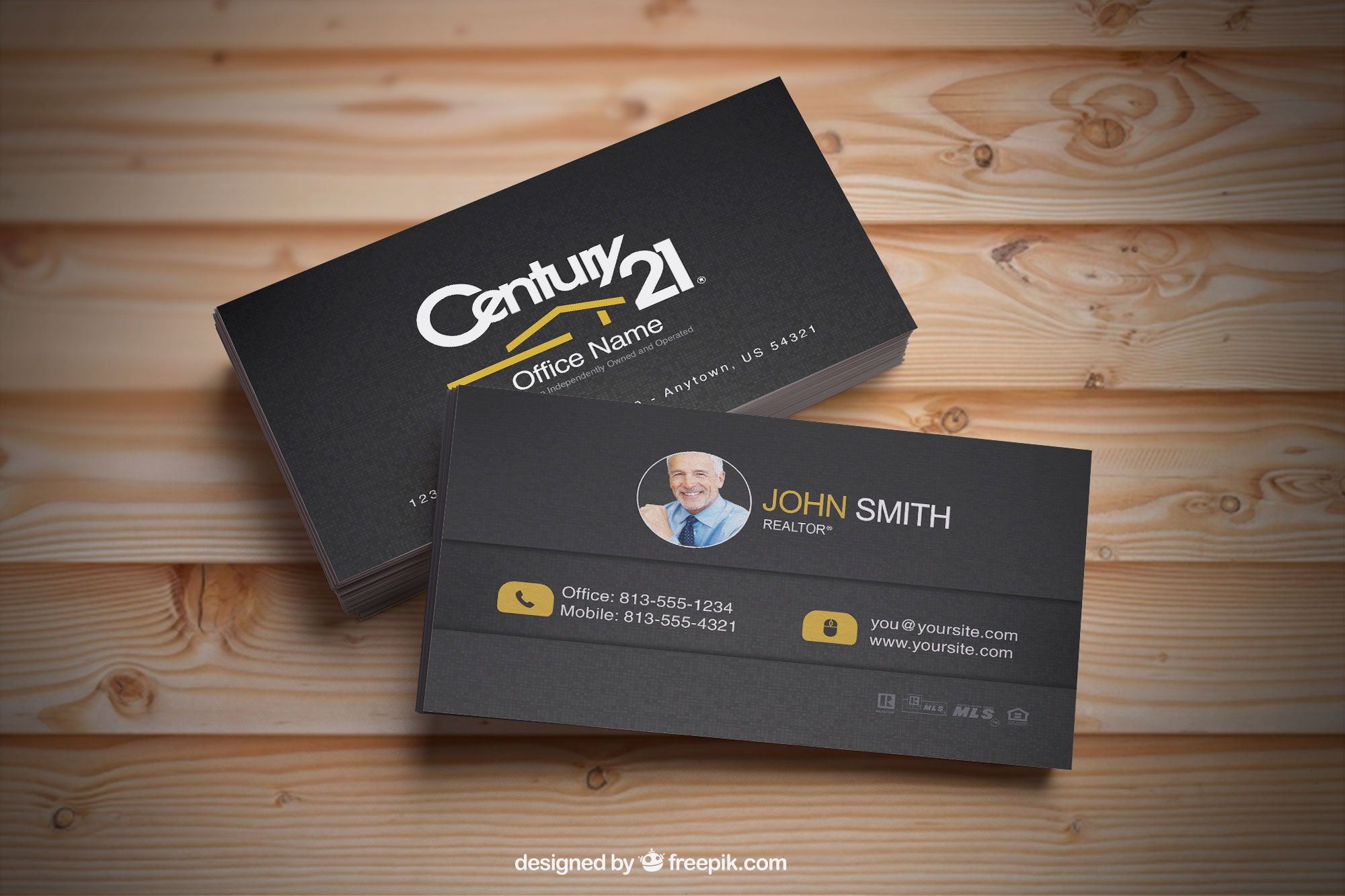 Dark and clean business card designs for Century 21 Realtors. | Real ...