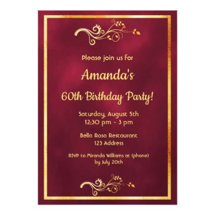 60th birthday party burgundy with faux gold decor card filmwisefo Choice Image
