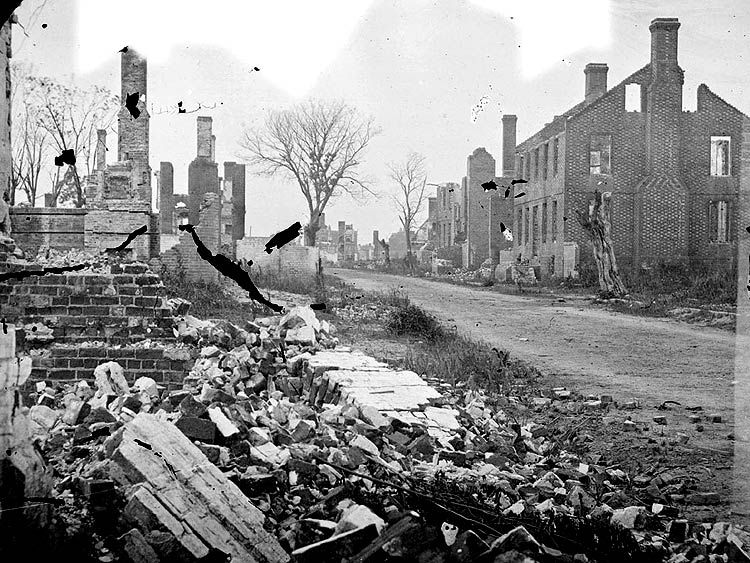 Images of the Civil War: Ruins of houses in Fredericksburg, Virginia.