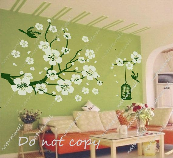 Nursery wall stickers cherry blossom decals floral decals kids wall ...