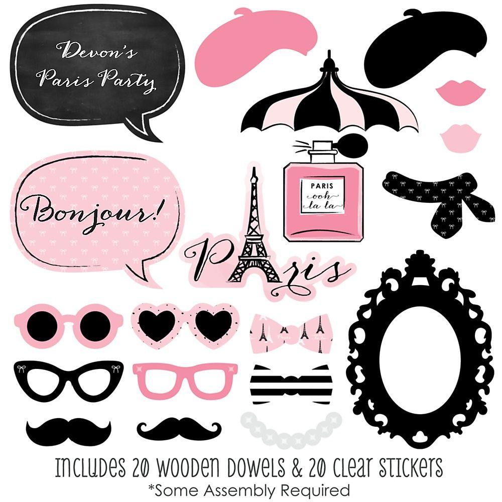 Paris Ooh La La 20 Piece Paris Themed Party Photo Booth Props  # Oohlala Muebles Y Accesorios Infantiles