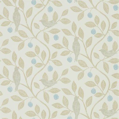 Sanderson Home Stylised birds perch upon curvaceous trailing branches on this wide-width wallpaper, produced in subtle colourways and available as a fabric of the same name. Use to add a patterned backdrop to plain furniture pieces. Color: Denim/Barley