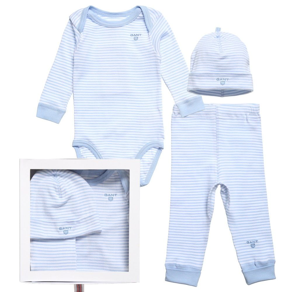 c6b4e3154da Gant Boys Blue Striped Cotton 3 Piece Baby Gift Set at Childrensalon.com