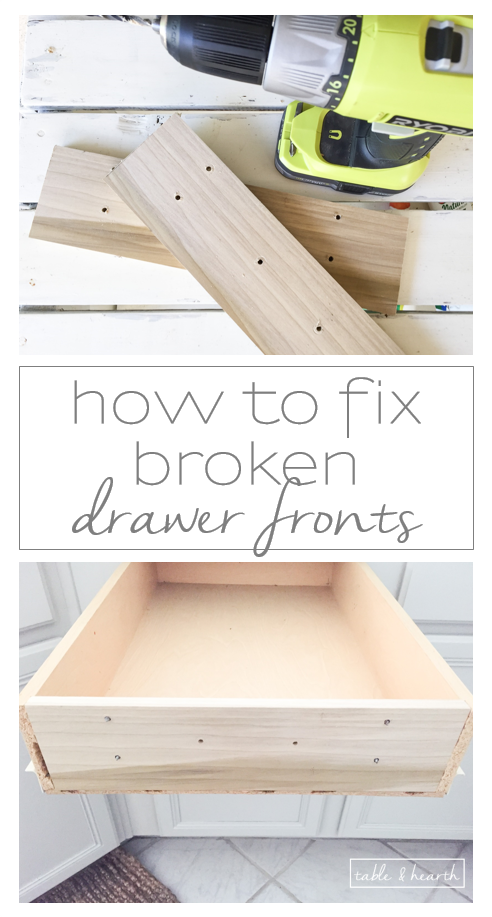 how to fix broken drawer fronts an easy and strong way. Black Bedroom Furniture Sets. Home Design Ideas