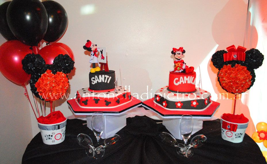 Torta de Mickey y Minnie mouse. Topiarios de Mickey | Fiestas ...