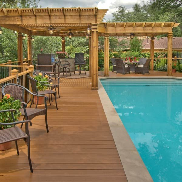 L Shaped Wood Pergola Over Pool Deck Archadeck Outdoor Living Diy Decks Patios Pinterest Pergolas And