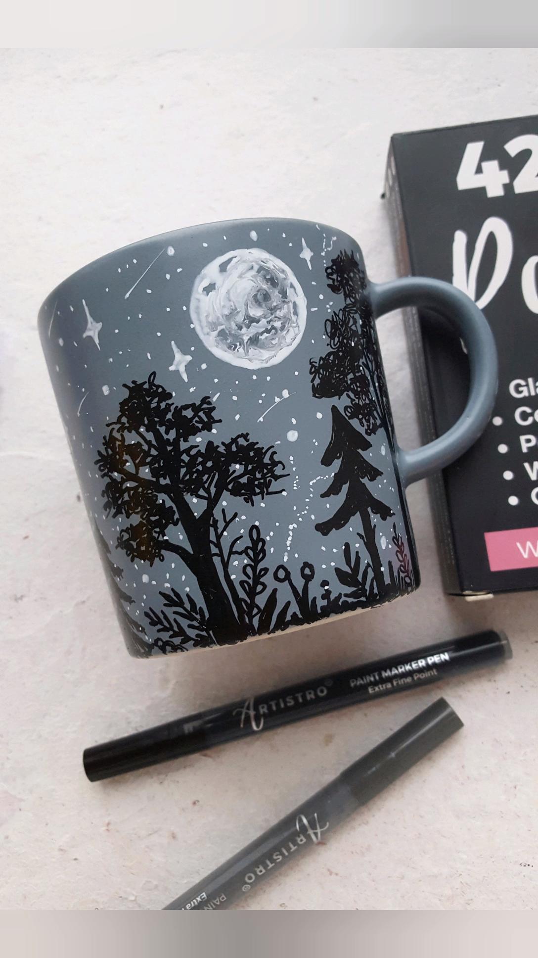 Photo of Moon painted mug – Step by step tutorial with ceramic mug. Cute