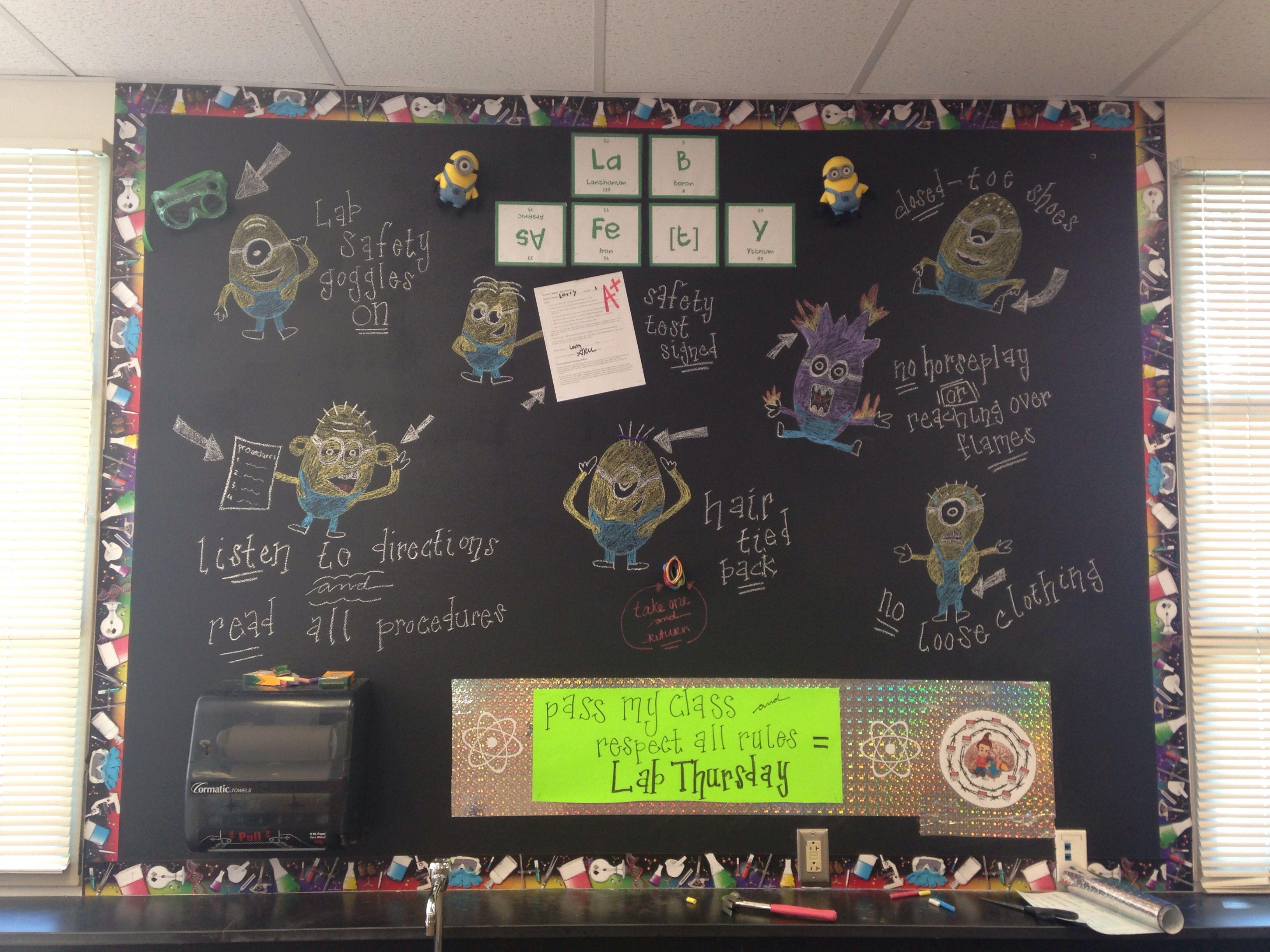 My Minion Science Classroom Lab Safety Chalkboard Wall