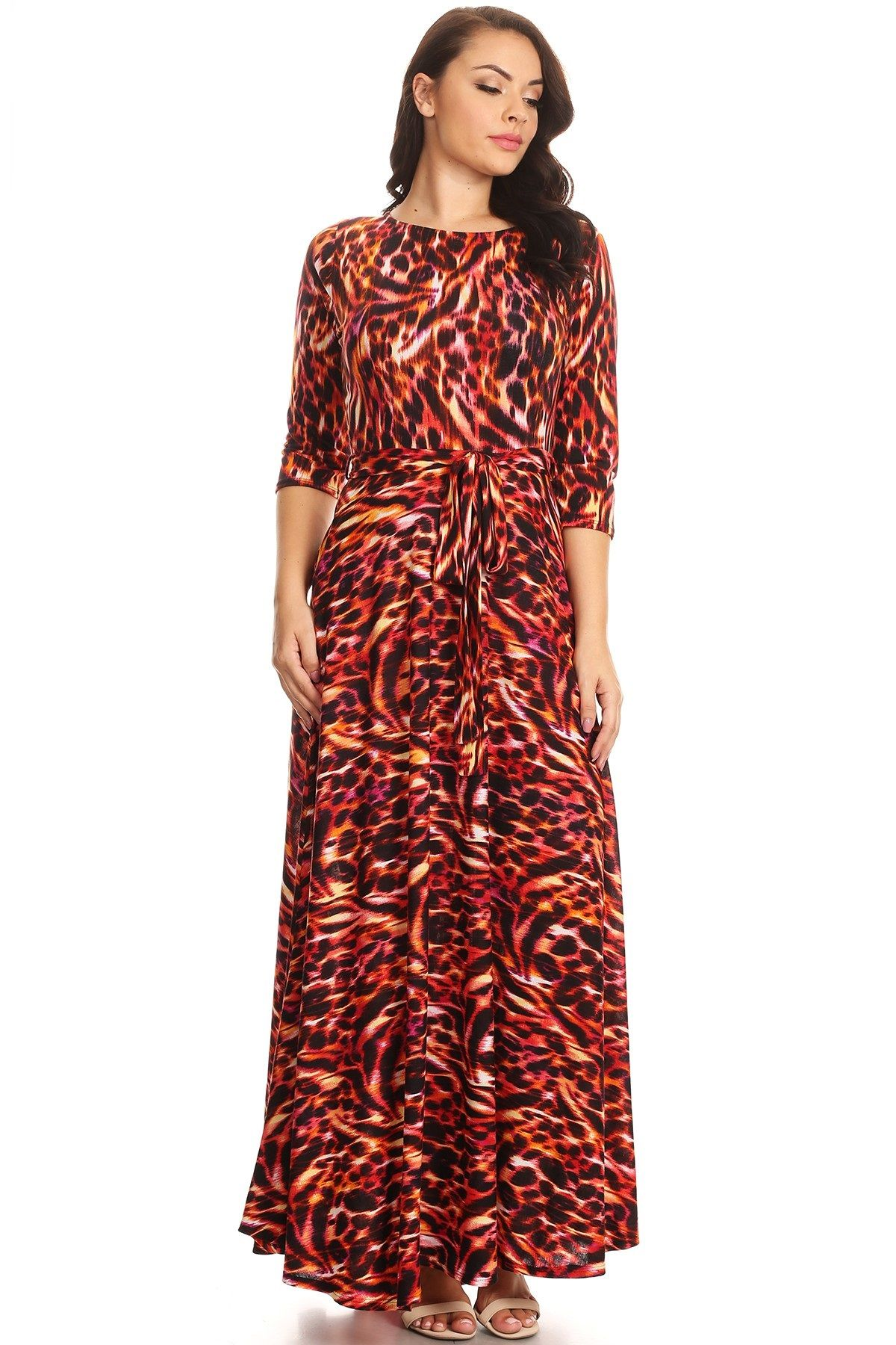 e622bc176d36 What plus size woman doesnt love a maxi dress? Perfect for any occasion or  season! Plus Size Red and Orange Animal Print extra long length Maxi Dress  Round ...