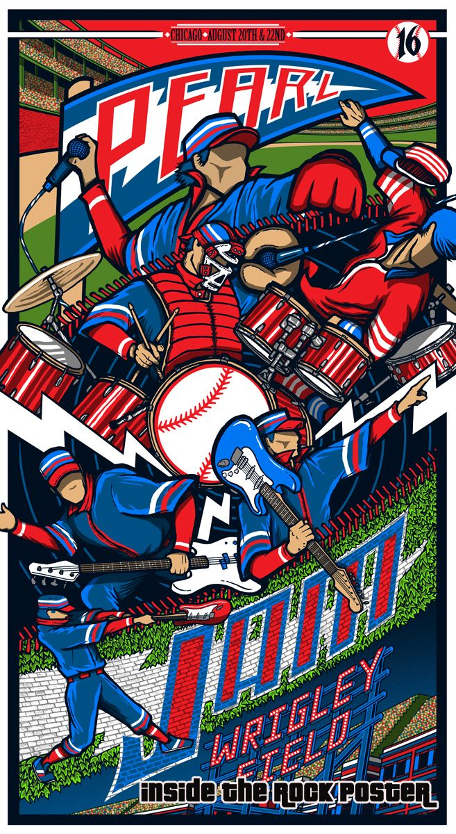 f4a5d2d0f5 Pearl Jam Brad Klausen Wrigley Field Chicago Poster Variant Exclusive