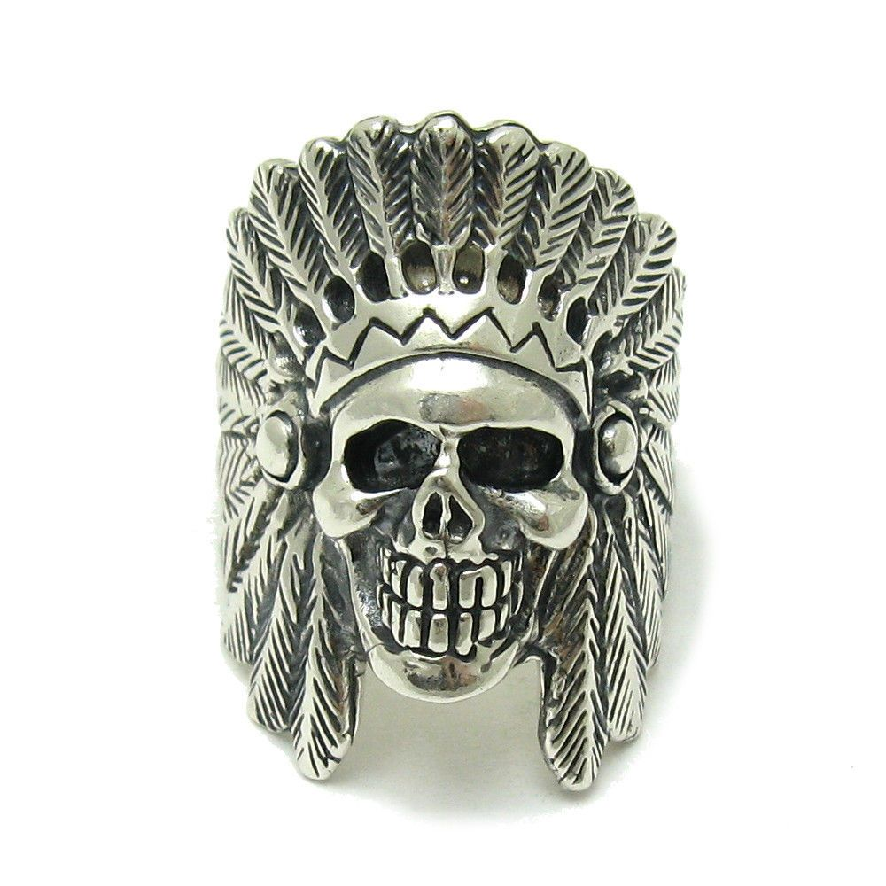 STERLING SILVER RING INDIAN CHIEF SKULL SOLID 925 R001556 EMPRESS #Empress