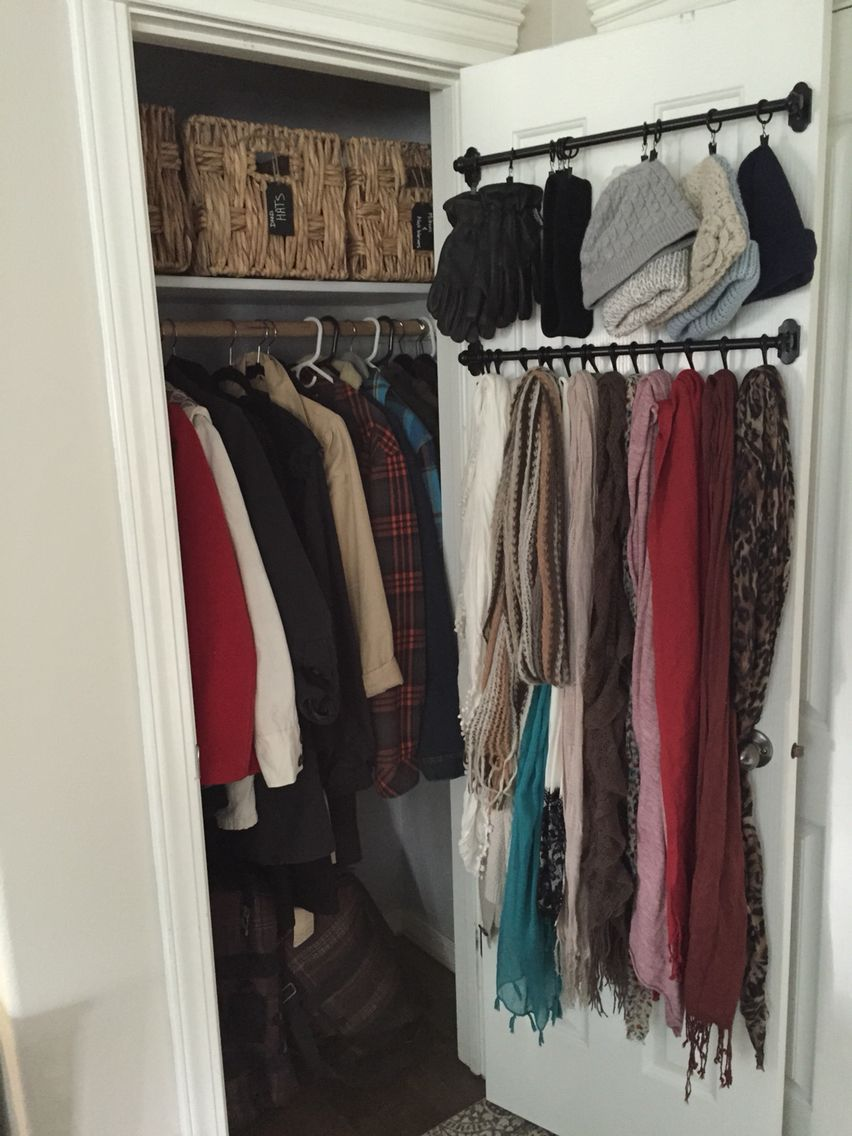 Small coat closet organizing outerwear in a compact space for Storage ideas for small bedrooms with no closet