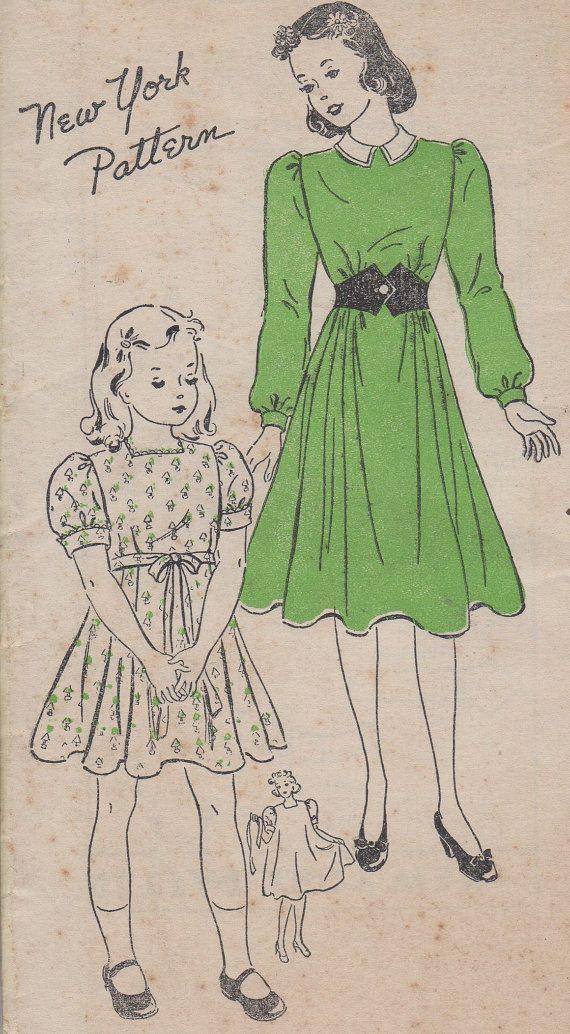 FACTORY FOLDED 1940's Girls' Dress New York Pattern 1202 by HelaQ