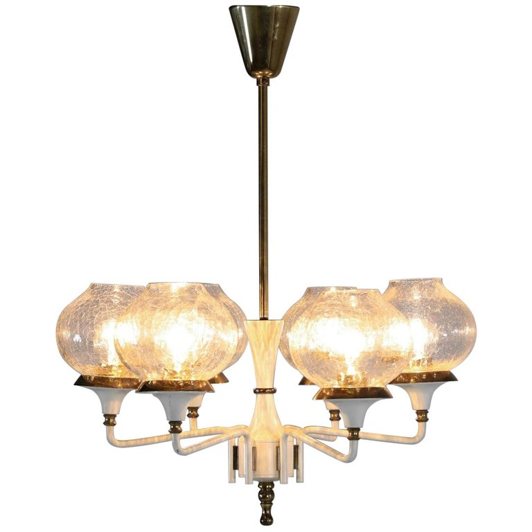 Midcentury Pendant Brass And Glass Scandinavian In Style Of Hans