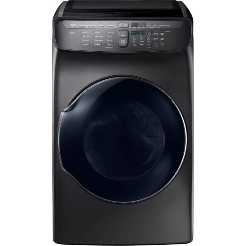 Samsung Dvg55m9600 27 Inch Wide 7 5 Cu Ft Gas Dryer With 13 Drying Cycles And Black Stainless Steel Dryers Dryer Gas Gas Dryer Black Stainless Steel Samsung
