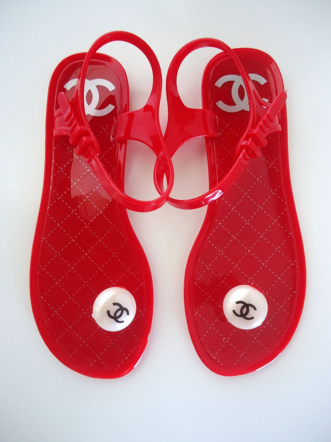 20d3a79ffa59 Trendy Red Chanel Inspired Jelly Sandals