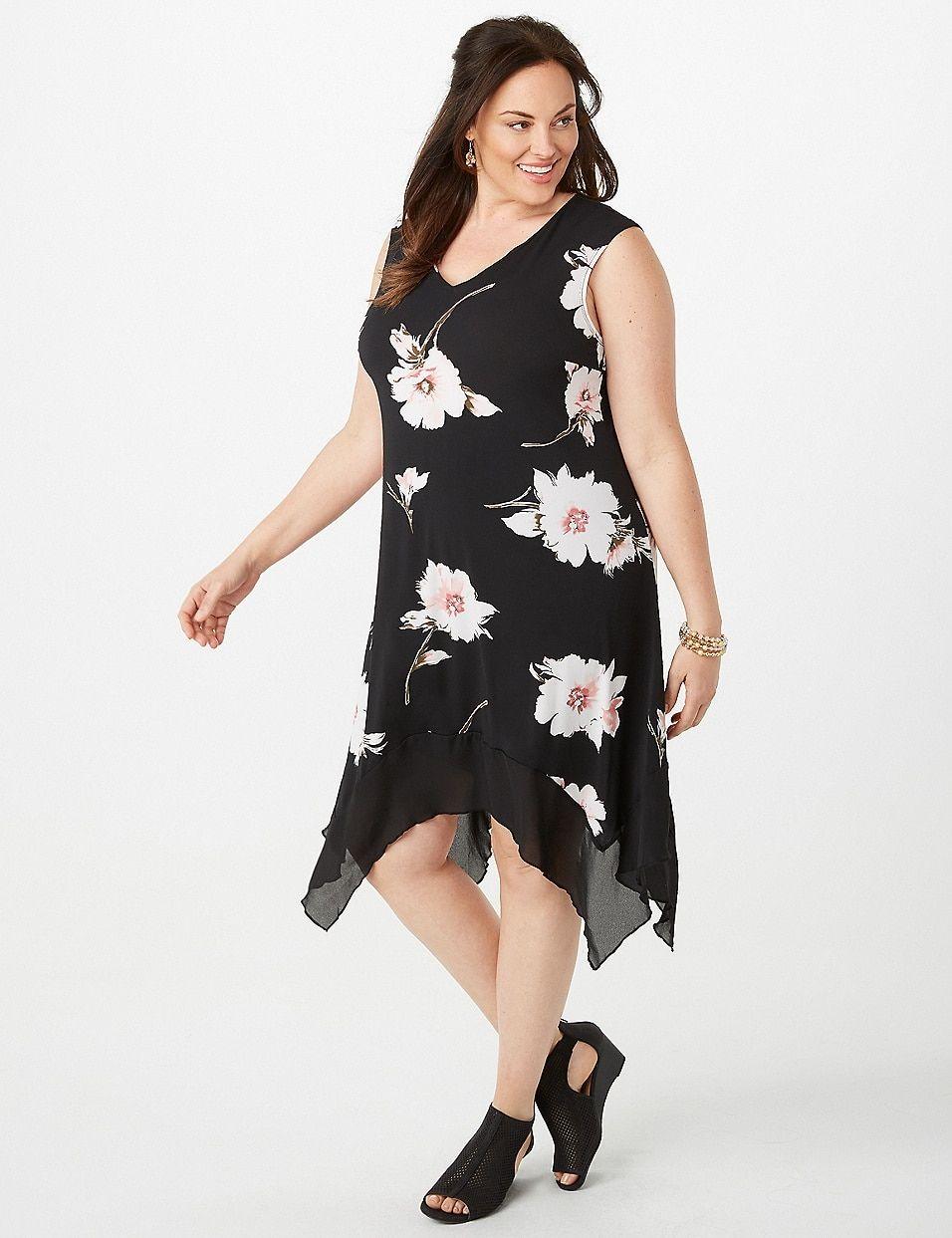 b7b8837b628 Plus Size Floral Chiffon-Trim Sharkbite-Hem Dress