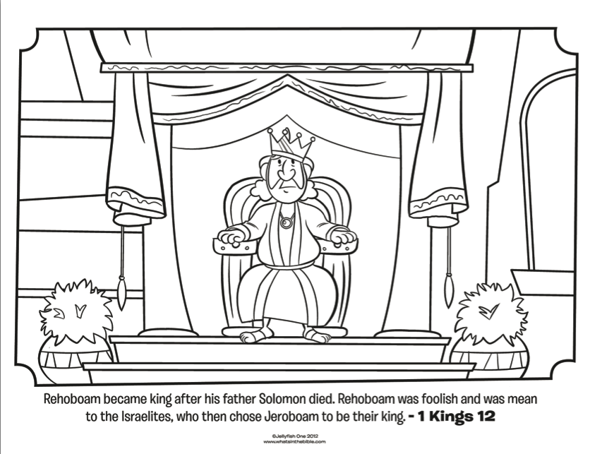 king jehoshaphat coloring page - a king text at bottom is about rehoboam coloring
