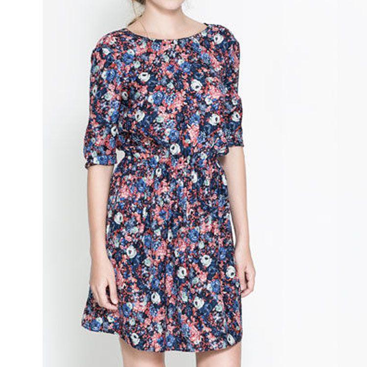 Summer New Women Party Dresses Crew Neck Floral Patterns Evening Dress print Backless Half Sleeve Chiffon Dress Drop Shipping $14.90