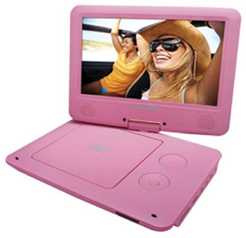 Sylvania 9-Inch Swivel Screen Portable DVD/CD/MP3 Player with 5 Hour Built-In Rechargeable Battery, USB/SD Card Reader, AC/DC Adapter, Pink, http://www.amazon.com/dp/B00HZZ65BQ/ref=cm_sw_r_pi_awdm_Jpzoub1ZV5M7S