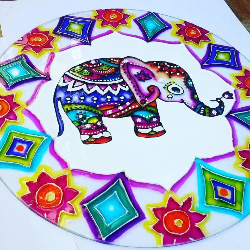 Super Elefante Hindú - Glasspaint