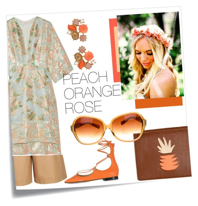 """PEACH ORANGE ROSE."" by babett-beattie on Polyvore featuring Mode, Post-It, Topshop, Tory Burch, Pinko, Lizzie Fortunato, Lydell NYC und Oliver Peoples"