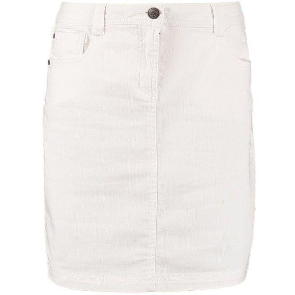 Anna Field Denim skirt (525.200 IDR) ❤ liked on Polyvore featuring skirts, denim, white, pocket skirt, knee length denim skirt, short skirts, white knee length skirt and short denim skirts