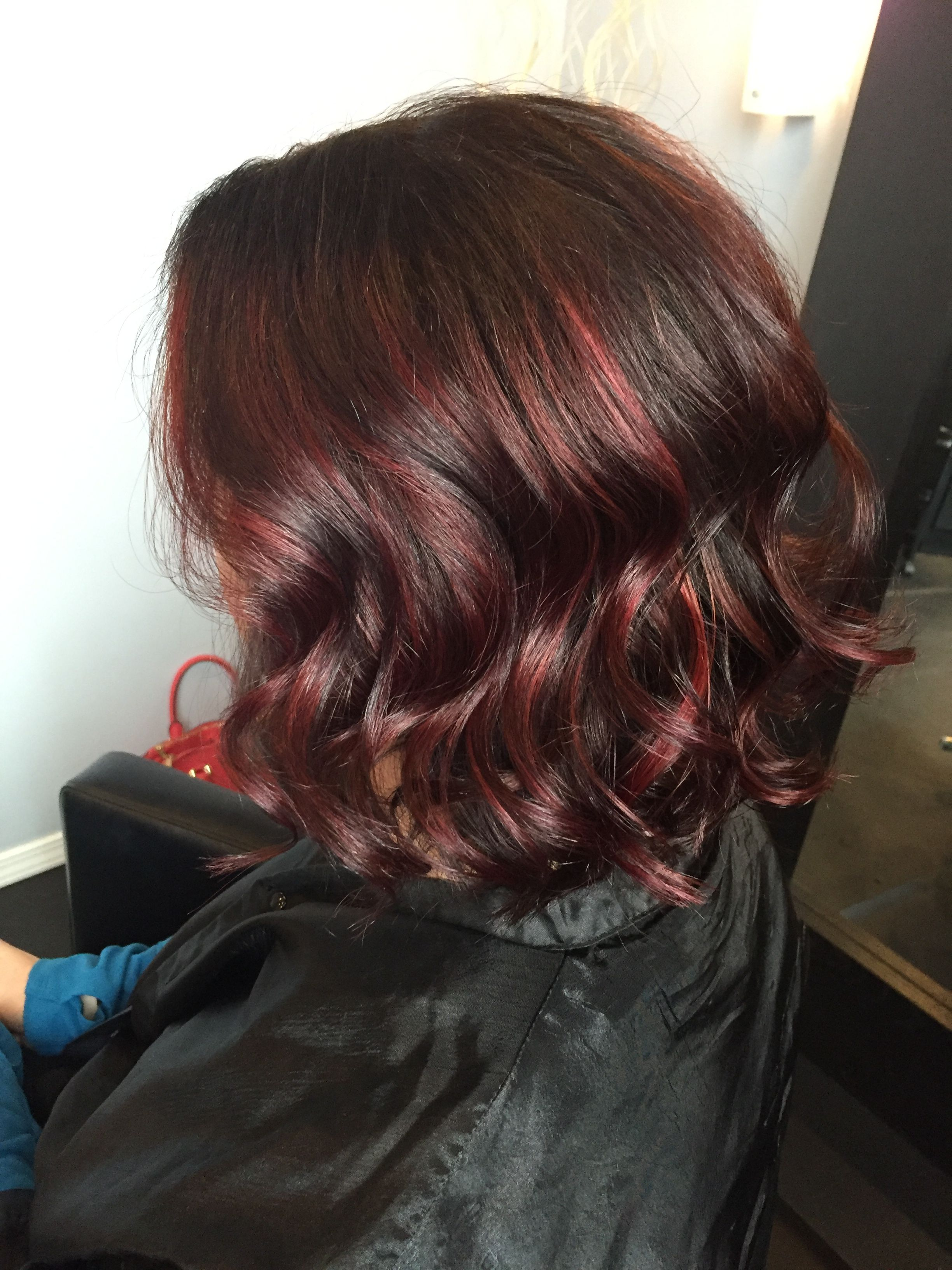 Brown With Red Violet Balayage Hair Hair Color