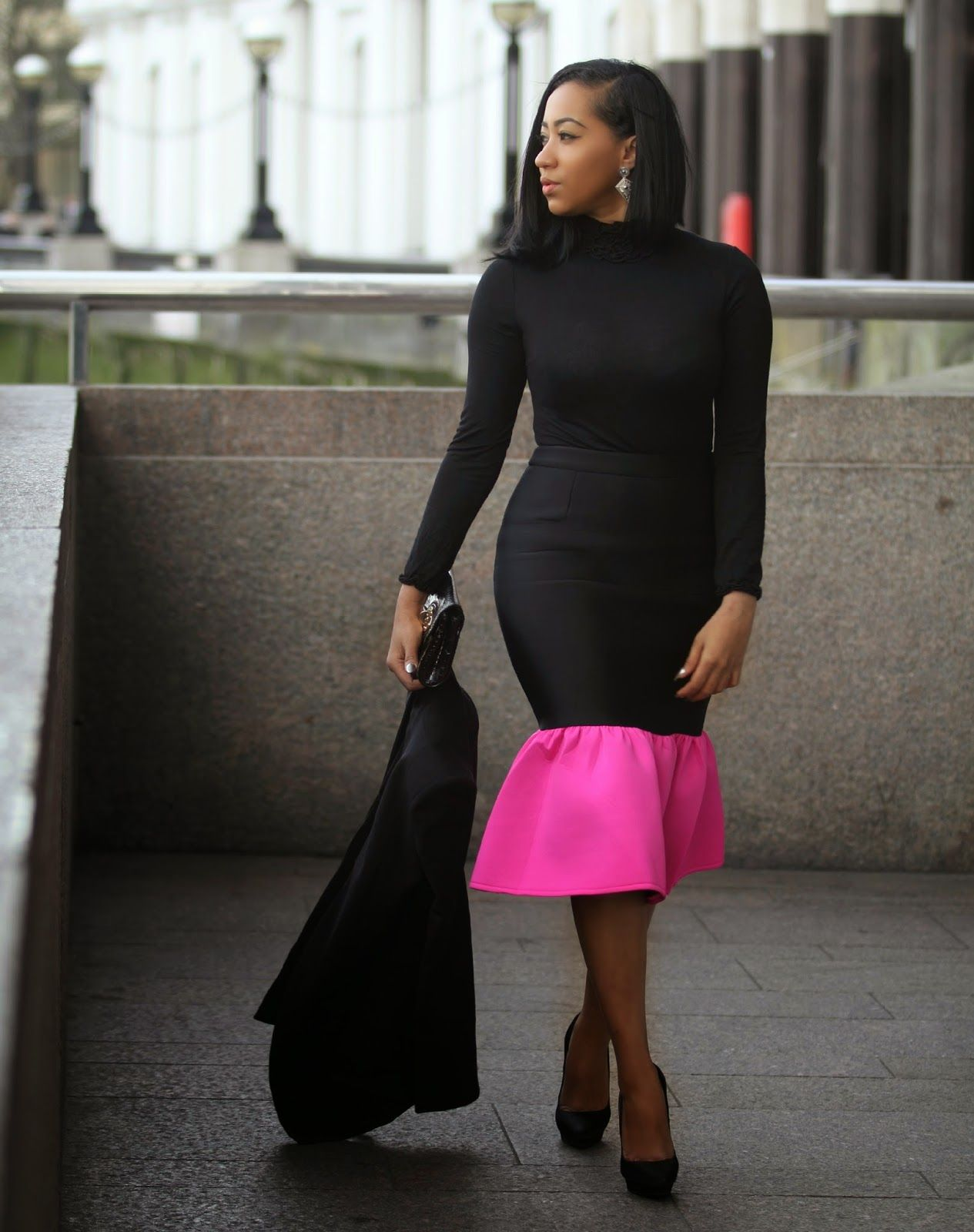 Black and Pink I love this look for the simplicity and the pop of colour on this gorgeous peplum skirt from www.asos.com I kept everything simple with minimal jewellery/accessories. The details on the...
