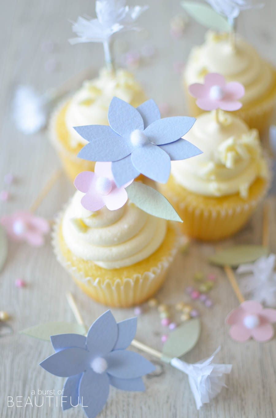 Diy flower cupcake toppers home decorating ideas bhome hello craftberry bush friends it alicia from a burst of beautiful and i am so happy to be joining you once again today i have a really sweet project to izmirmasajfo