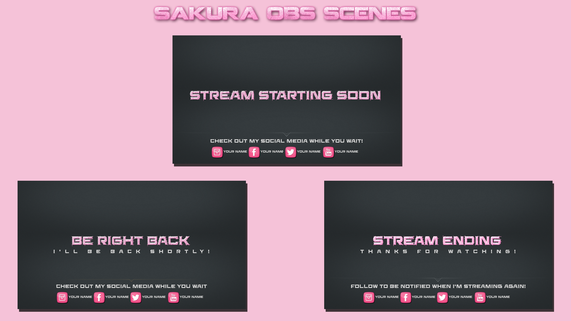 Pink Obs Scenes Streaming Scenes Twitch