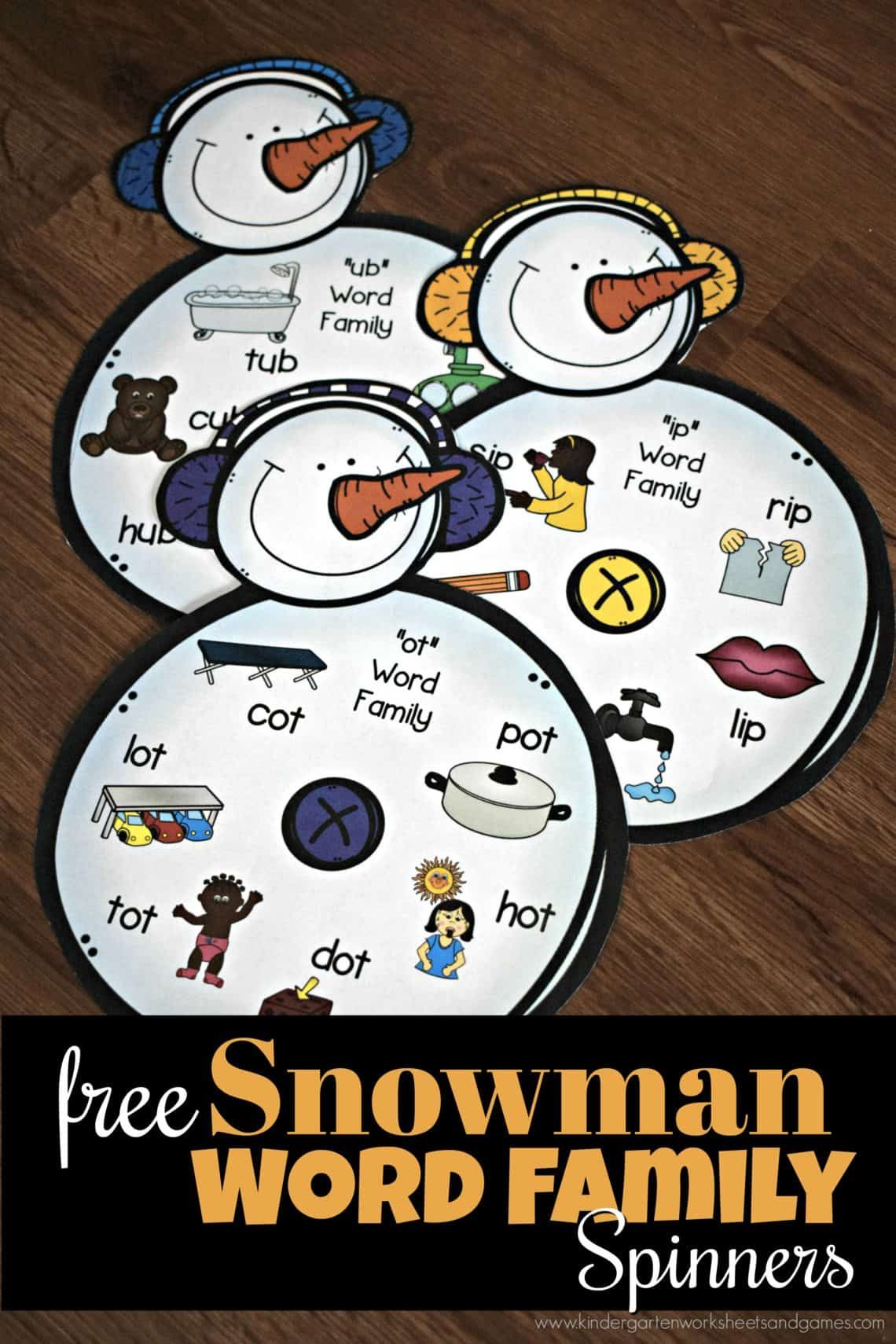 Free Snowman Word Family Spinner