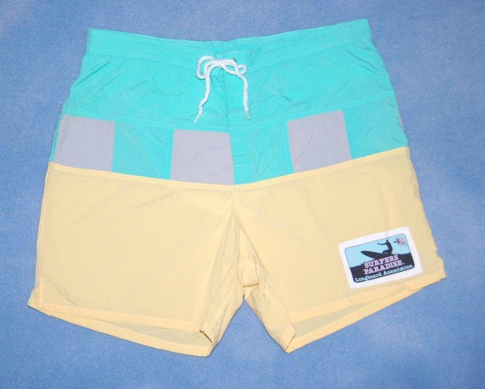 18ac7876d401a Vintage Hobie Board Shorts Swim Trunks Men's Size 38 Swimsuit Surf Patch
