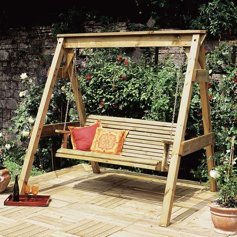 Wooden Swing Seat Large Heavy Duty 3 Seater Outdoor Garden Swing