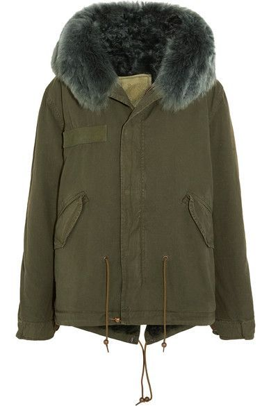 edef6c4ed243 MR   MRS ITALY - Shearling-lined Cotton-canvas Parka - Army green ...