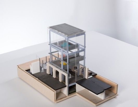 Ground floor, basement, exhibition tower, Model 1-50e. Image © OMA / Frans Parthesius