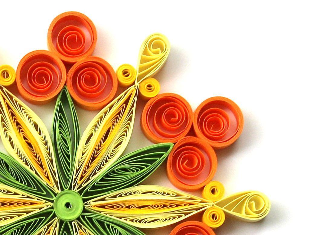 Snowflake orange yellow green quilled handmade art paper quilling home decoration idea also rh pinterest