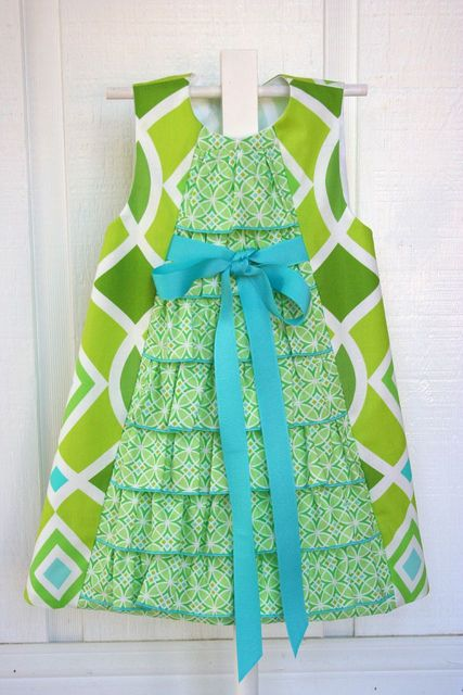 "https://flic.kr/p/7TjsjB | Aqua&Lime Ruffled A-line | I'm lovin this dress! I made this one for the tutorial that I plan on posting on my blog soon! I started with the pattern ""Charlotte"" by Childrens Corner. Fabrics are both FreeSpirit's Monaco by Dena Designs. Posted the tutorial on how to make this on my blog at iveyc95.blogspot.com/2010/04/line-ruffle-front-dress-tuto..."