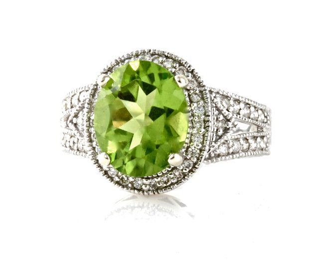 14k peridot ring vintage engagement ring diamond halo art