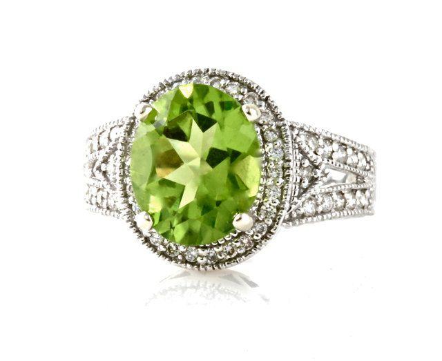 14k peridot ring vintage engagement ring diamond halo art