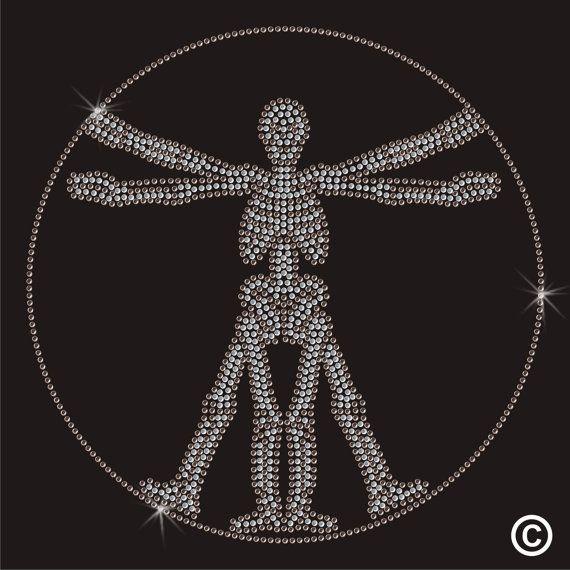 Da Vinci Vitruvian Man Skeleton Rhinestone Diamante Transfer Iron On Hotfix Motif