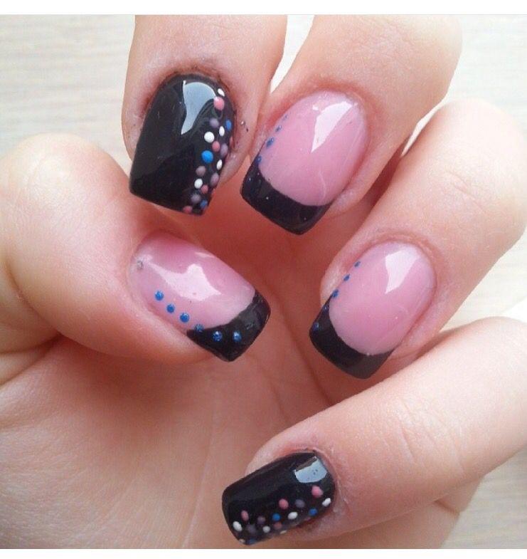 Ricostruzione unghie #Nails #french black #black style #dark style ...