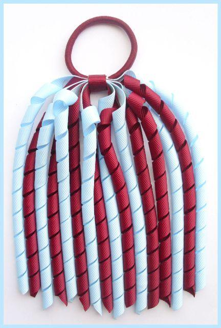 c57a16df7 Burgundy Light Blue Korker Ponytail Streamer-korker, corker, curly, bow,  bows…